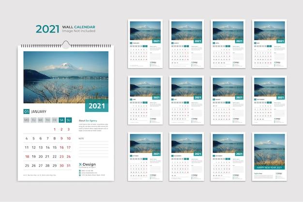 Modelo de calendário de parede, calendário Vetor Premium