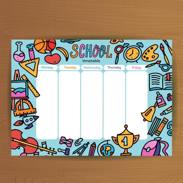 Modelo de calendário escolar. aluno agenda com material escolar. planos de aula durante toda a semana. educação Vetor Premium