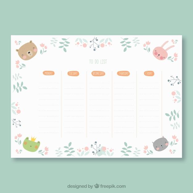 Modelo de calendário escolar com design plano Vetor grátis