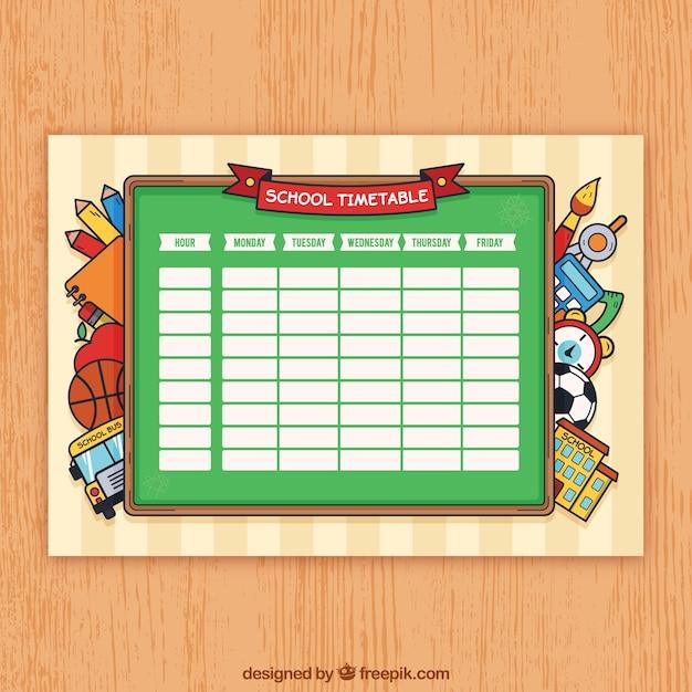 Modelo de calendário escolar com materiais desenhados à mão Vetor grátis