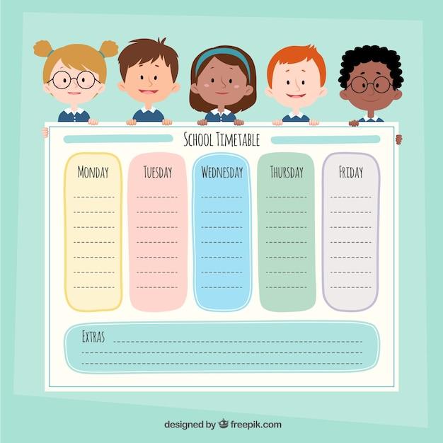 Modelo de calendário escolar com personagens de desenhos animados Vetor grátis