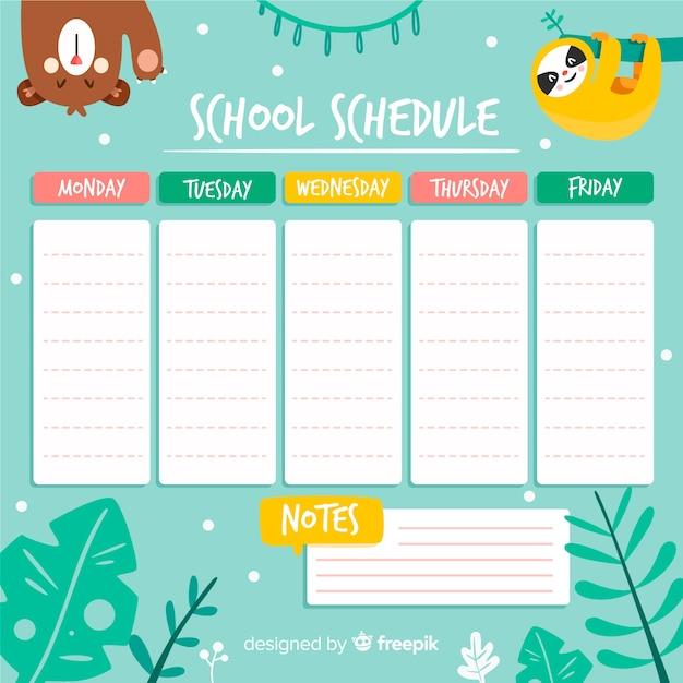 Modelo de calendário escolar de estilo simples Vetor grátis