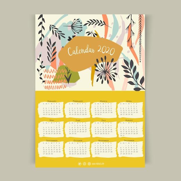 Modelo de calendário floral 2020 Vetor grátis