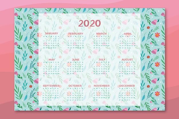 Modelo de calendário floral Vetor grátis