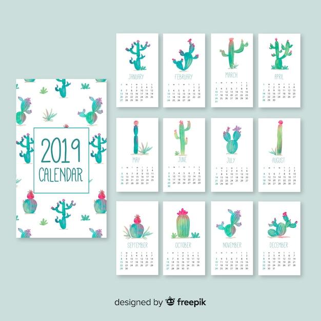 Modelo de calendário linda aguarela 2019 Vetor grátis
