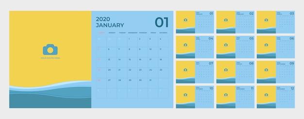 Modelo de calendário para 2020. Vetor Premium