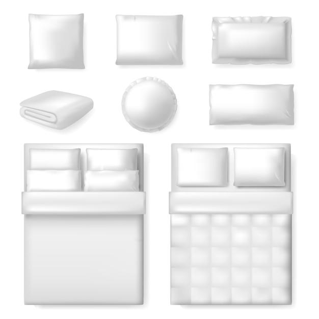 Modelo de cama realista. cama em branco branca, cobertor e travesseiros, modelo de roupa de cama têxtil de conforto, conjunto de ilustração de quarto. almofada de dormir para quarto, roupa de cama travesseiro Vetor Premium