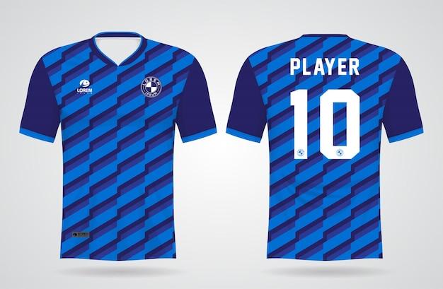 Modelo de camisa azul esportiva para uniformes de equipe e design de camisetas de futebol Vetor Premium