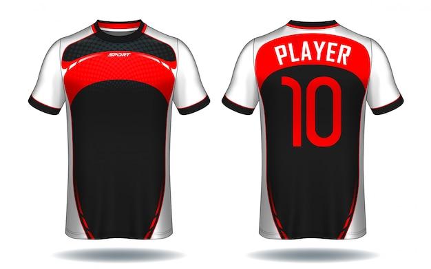 Modelo de camisa de futebol. design de t-shirt do esporte. Vetor Premium
