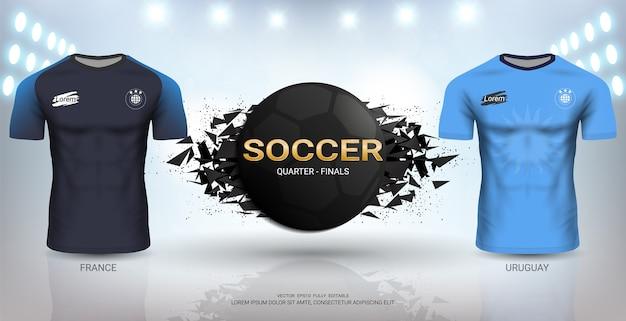 4ee6c34a8e Modelo de camisa de futebol do uruguai vs frança. | Baixar vetores ...