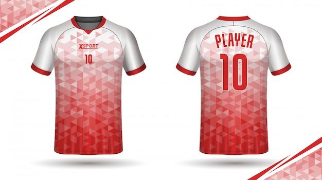 Modelo de camisa de futebol modelo de camiseta de esporte Vetor Premium