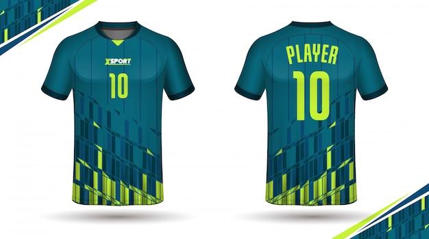 Modelo de camisa de futebol para trás e frente Vetor Premium