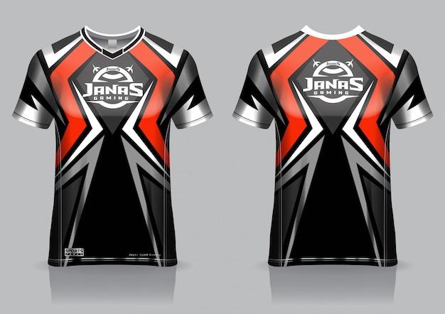 Modelo de camisa esport t camisa de jogo, uniforme, vista frontal e traseira Vetor Premium