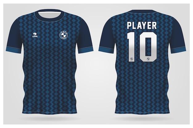 Modelo de camisa esporte azul abstrato para uniformes de equipe e design de camisetas de futebol Vetor Premium