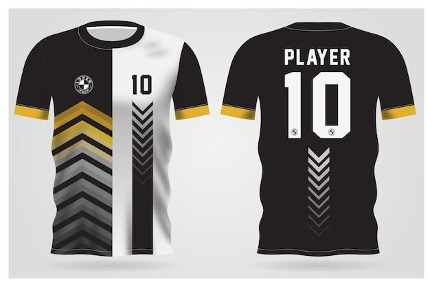 Modelo de camisa esporte preto branco abstrato para uniformes de equipe e design de camisetas de futebol Vetor Premium