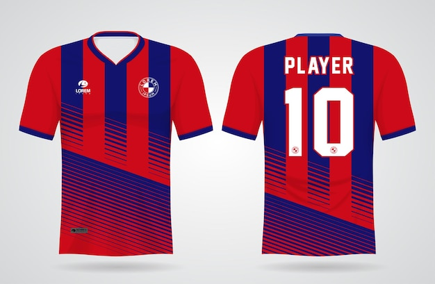 Modelo de camisa esportiva azul e vermelha para uniformes de equipe e design de camisetas de futebol Vetor Premium
