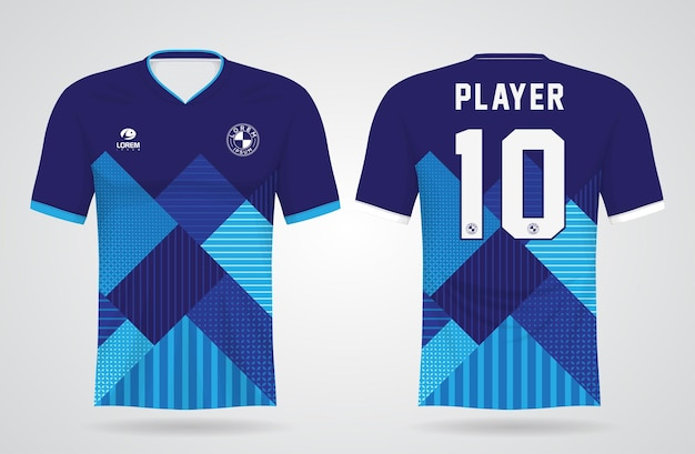 Modelo de camisa esportiva azul para uniformes de equipe e design de camisetas de futebol Vetor Premium