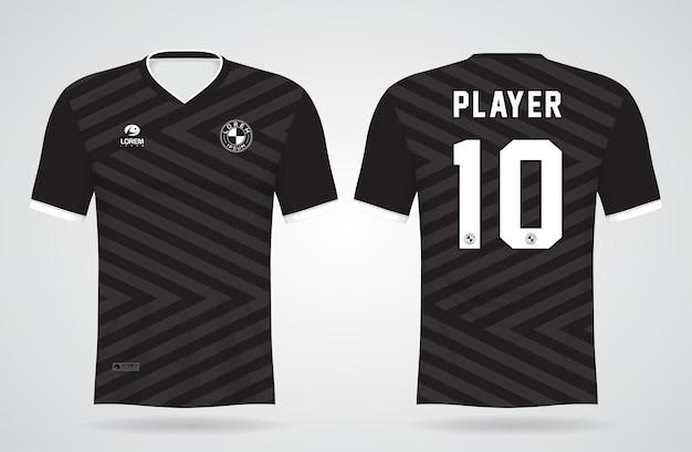 Modelo de camisa esportiva preta e cinza para uniformes de equipe e design de camisetas de futebol Vetor Premium