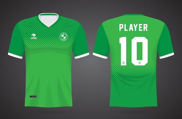 Modelo de camisa verde esportiva para uniformes de equipe e design de camisetas de futebol Vetor Premium