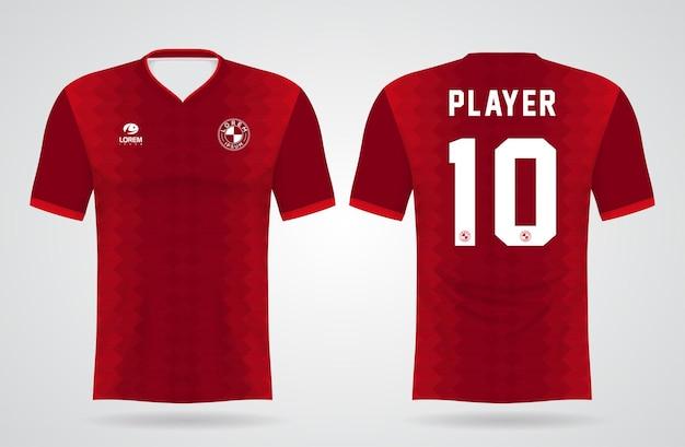 Modelo de camisa vermelha de esportes para uniformes de equipe e design de camisetas de futebol Vetor Premium