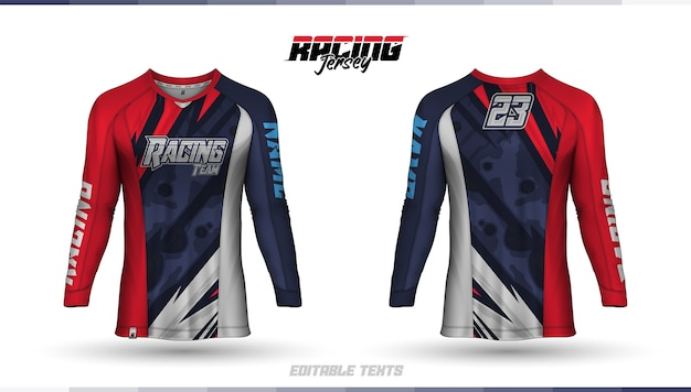 Modelo de camiseta, design de camiseta de corrida, camiseta de futebol Vetor Premium