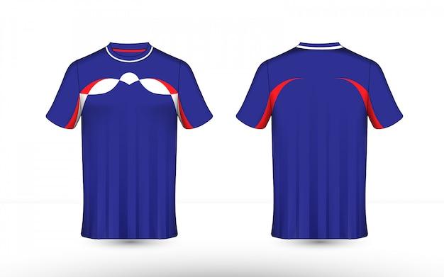 Modelo de camiseta e-sport layout azul, vermelho e branco Vetor Premium