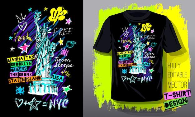 Modelo de camiseta na moda, design de moda camiseta, brilhante, verão, letras de slogan legal. lápis de cor, marcador, tinta, caneta doodles estilo de desenho. mão ilustrações desenhadas. Vetor Premium