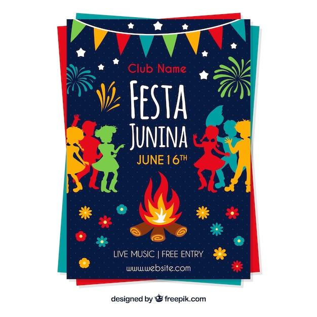 Modelo de capa colorida para festa junina Vetor grátis