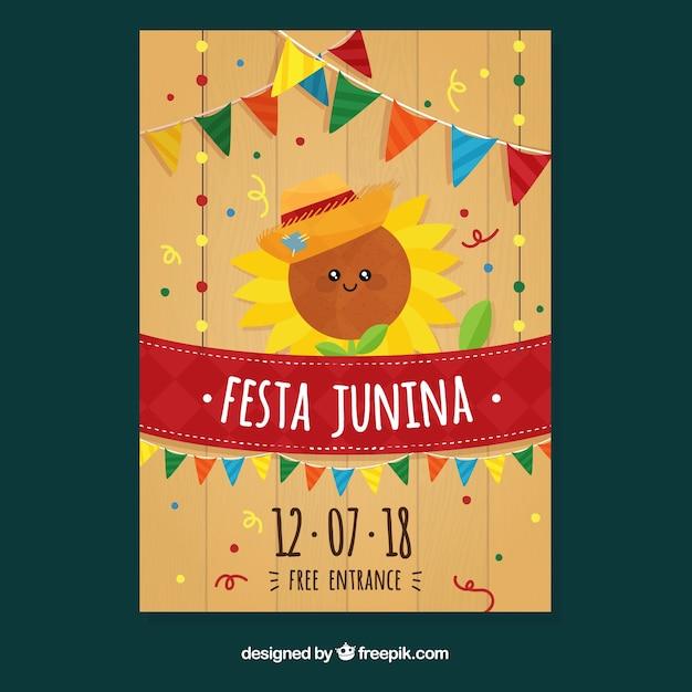 Modelo de capa criativa para festa junina Vetor grátis