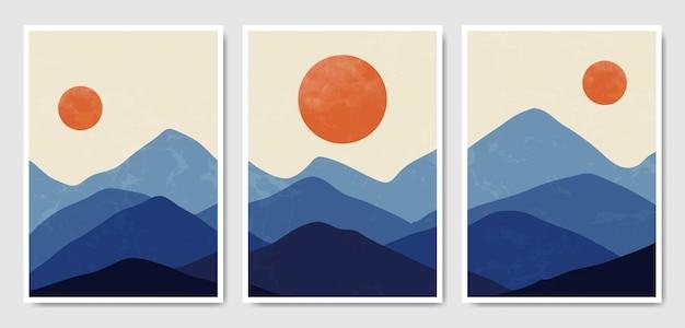 Modelo de capa de cartaz de boho paisagem contemporânea contemporânea meados do século. Vetor Premium