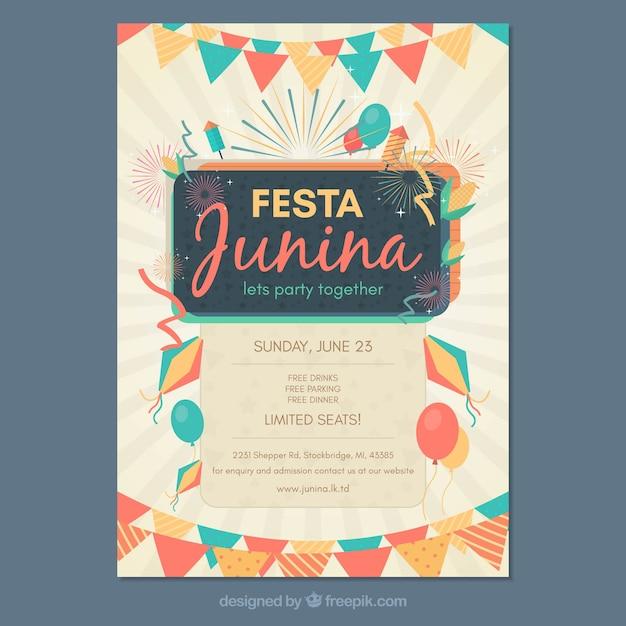 Modelo de capa de festa junina Vetor grátis
