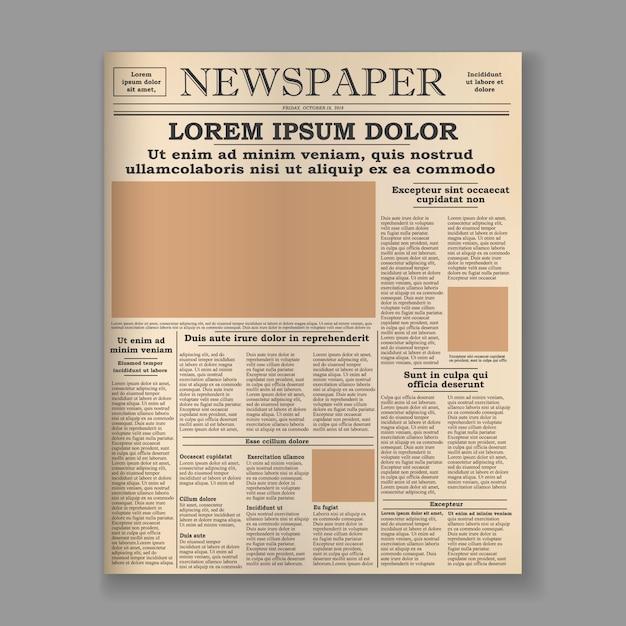 Modelo de capa de jornal antigo realista. Vetor Premium
