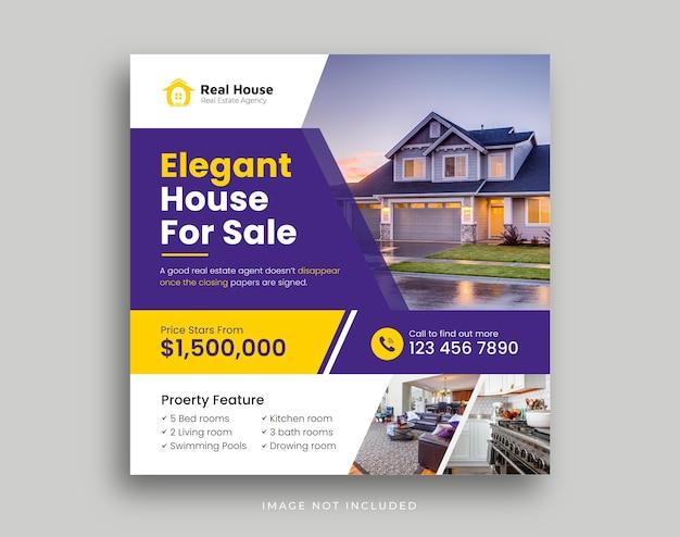 Modelo de capa de mídia social para promoção de marketing digital imobiliário Vetor Premium