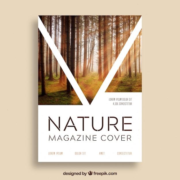 Modelo de capa de revista de natureza com foto Vetor grátis