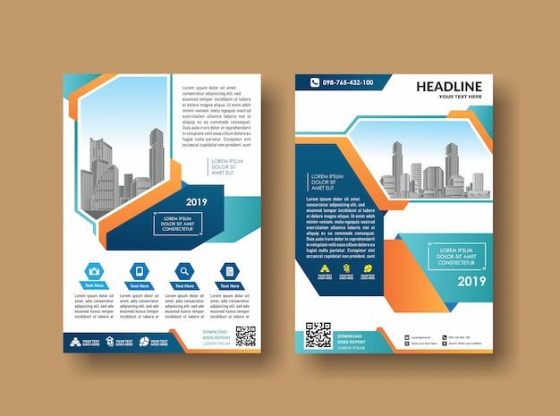 Modelo de capa design de brochura comercial Vetor Premium