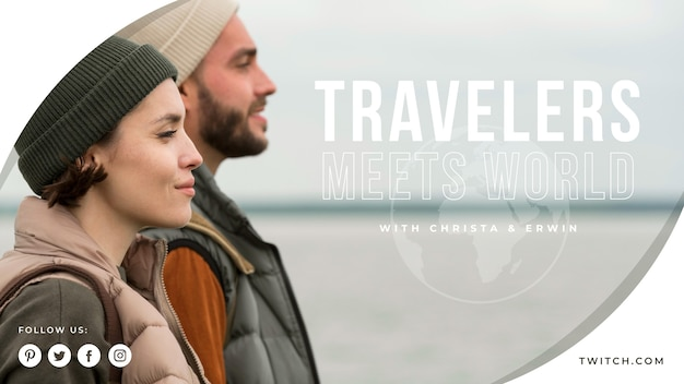 Modelo de capa do youtube para viagens Vetor grátis