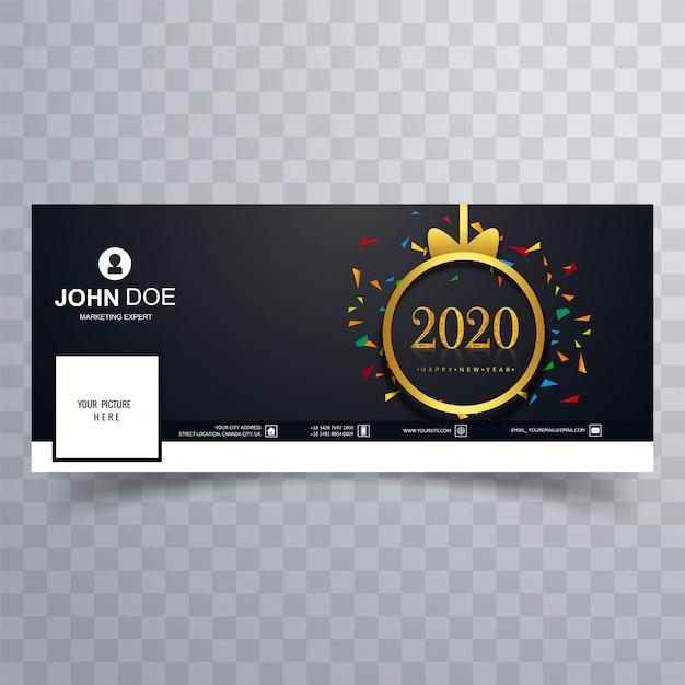 Modelo de capa elegante feliz ano novo de 2020 Vetor grátis