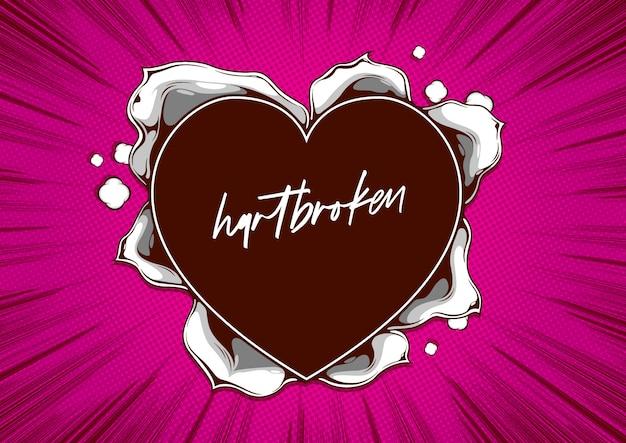 Modelo de capa em quadrinhos, forma de coração de papel rasgado em rosa. Vetor Premium