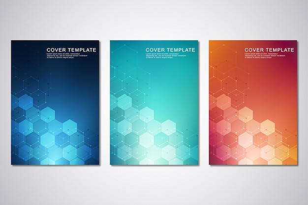 Modelo de capa ou brochura, com hexágonos e fundo tecnológico. Vetor Premium