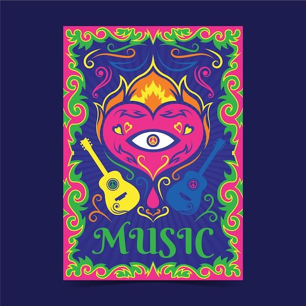 Modelo de capas de música psicodélica Vetor grátis