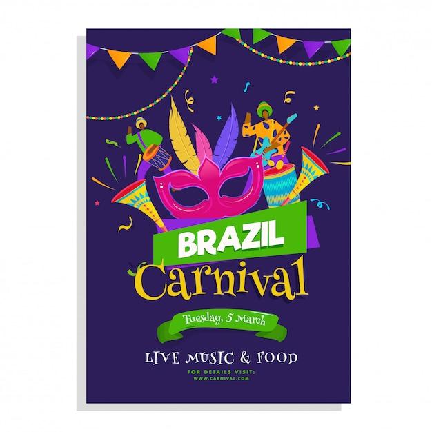 Modelo de carnaval brasileiro. Vetor Premium
