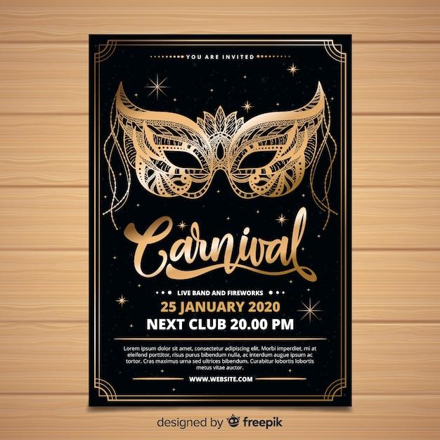 Modelo de carnaval de cartaz de máscara de ouro Vetor grátis