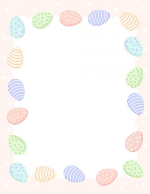 Modelo de carta com ovos de páscoa em tons pastel. Vetor Premium