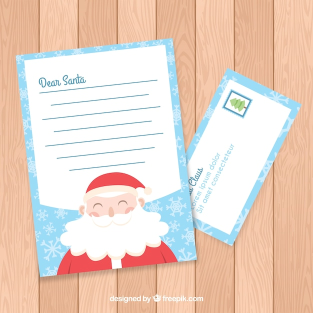 Modelo De Carta De Natal Com Envelope Vetor Gratis