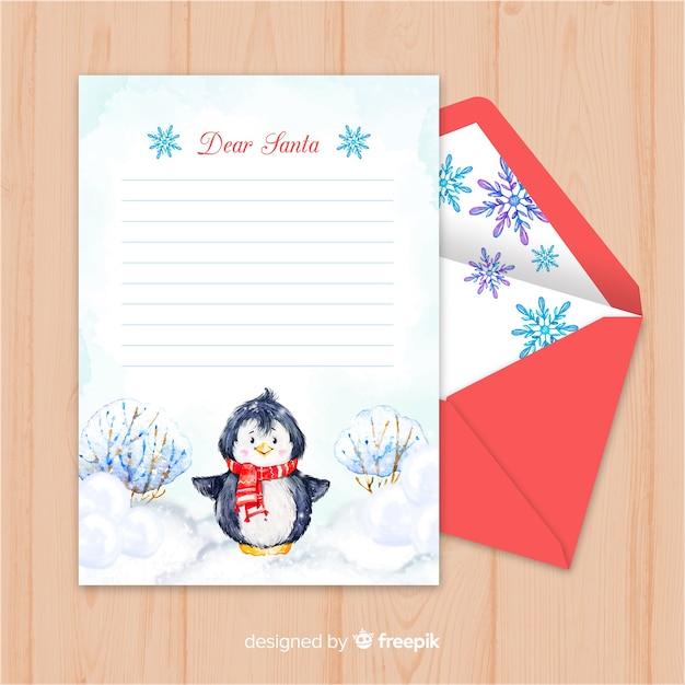 Modelo de carta de natal Vetor grátis