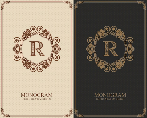 Modelo de carta emblema r, elementos de design do monograma, modelo gracioso caligráfico. Vetor Premium