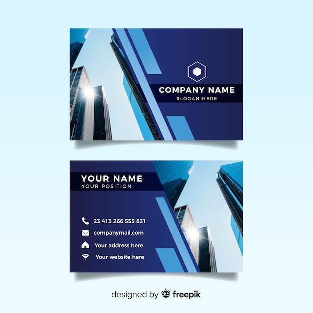 Modelo de cartão abstrato com foto Vetor grátis