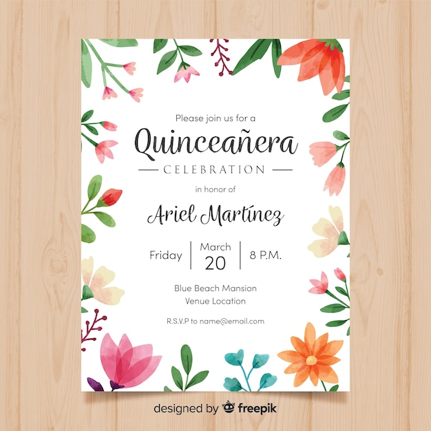 Modelo de cartão aquarela quinceanera floral frame Vetor grátis