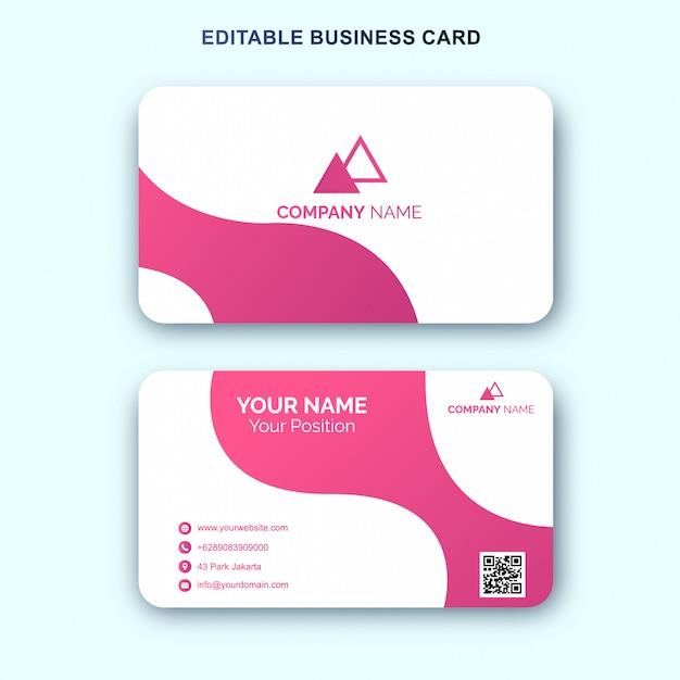 Modelo de cartão branco rosa simples Vetor Premium