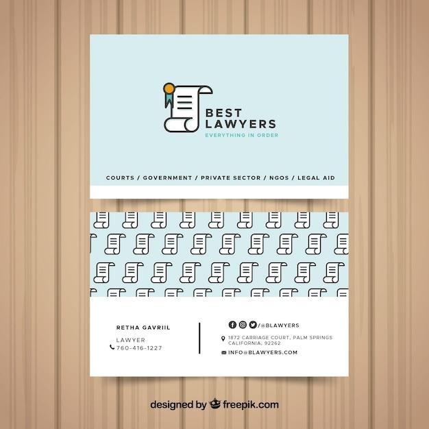 Modelo de cartão de advogado Vetor Premium